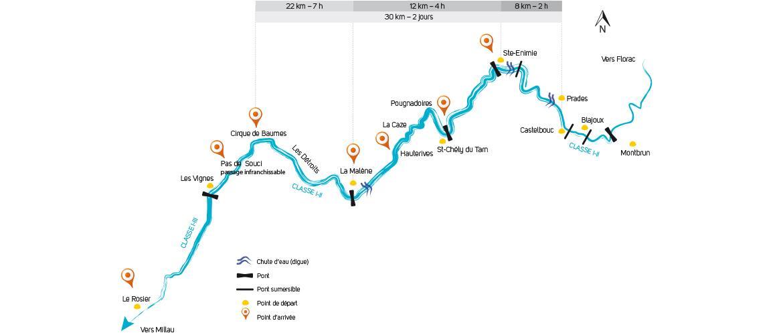Gorges du Tarn - Carte Canoe-Kayak Lozère