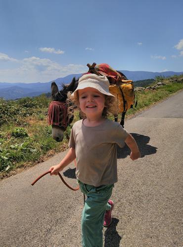 Balade avec un âne en famille dans les Cévennes