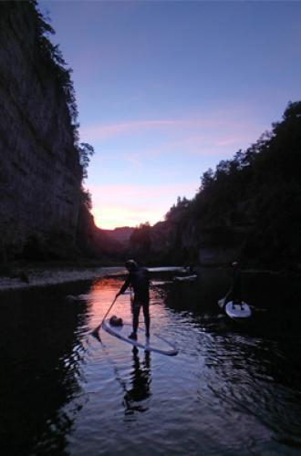 Descente en paddle de nuit en Lozère